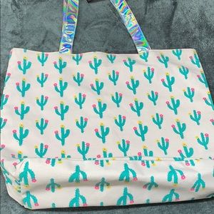 ⭐️🌸CACTUS Pink green large canvas beach tote NWT